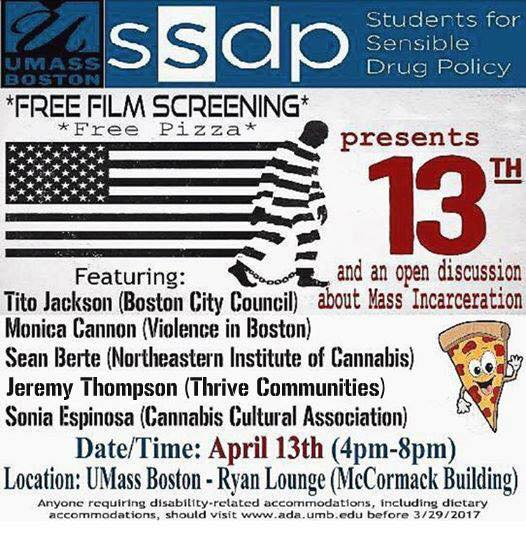 SSDP UMASS PIZZA CANNABIS FILM SCREENING